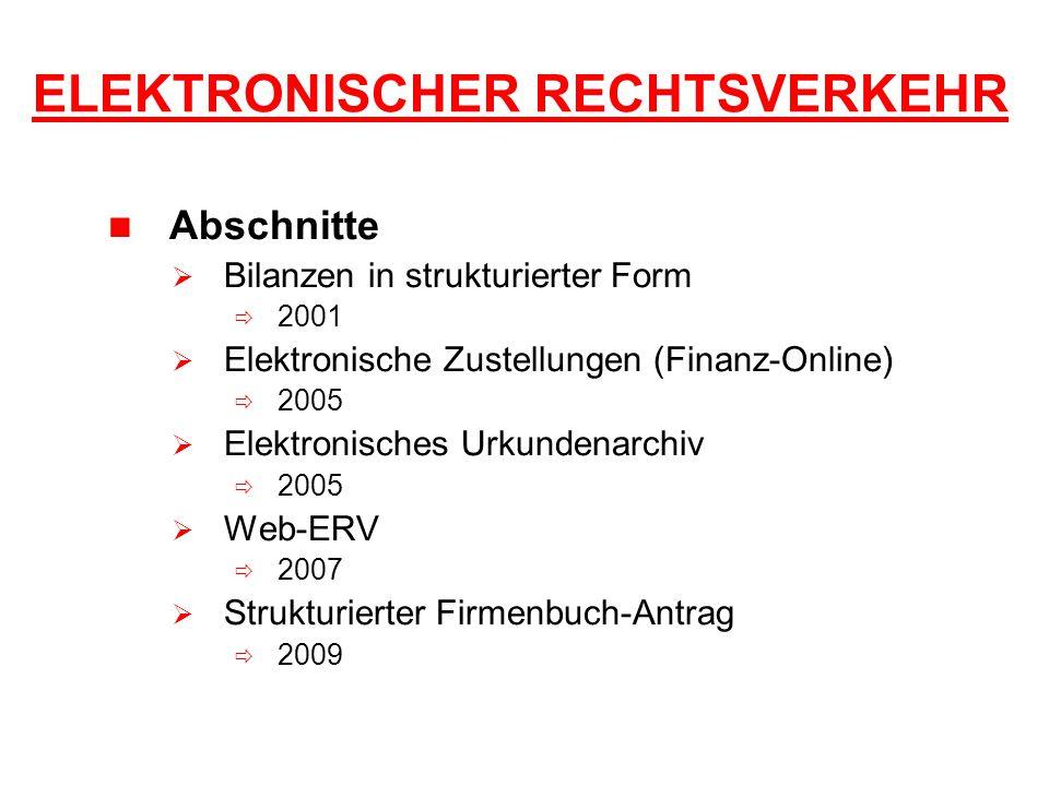 ELEKTRONISCHER RECHTSVERKEHR Abschnitte  Bilanzen in strukturierter Form  2001  Elektronische Zustellungen (Finanz-Online)  2005  Elektronisches