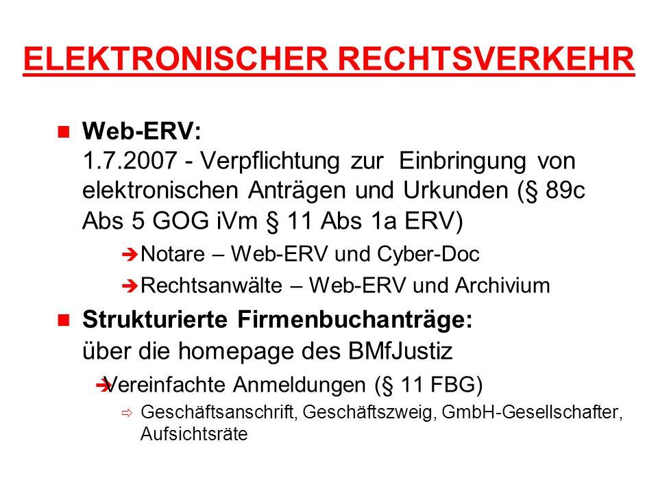 ELEKTRONISCHER RECHTSVERKEHR Web-ERV: 1.7.2007 - Verpflichtung zur Einbringung von elektronischen Anträgen und Urkunden (§ 89c Abs 5 GOG iVm § 11 Abs