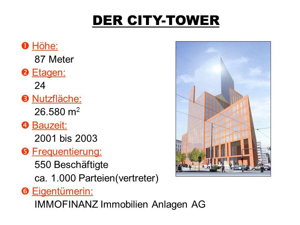 Der City-Tower Vienna  Höhe: 87 Meter  Etagen: 24  Nutzfläche: 26.580 m 2  Bauzeit: 2001 bis 2003  Frequentierung: 550 Beschäftigte ca. 1.000 Par