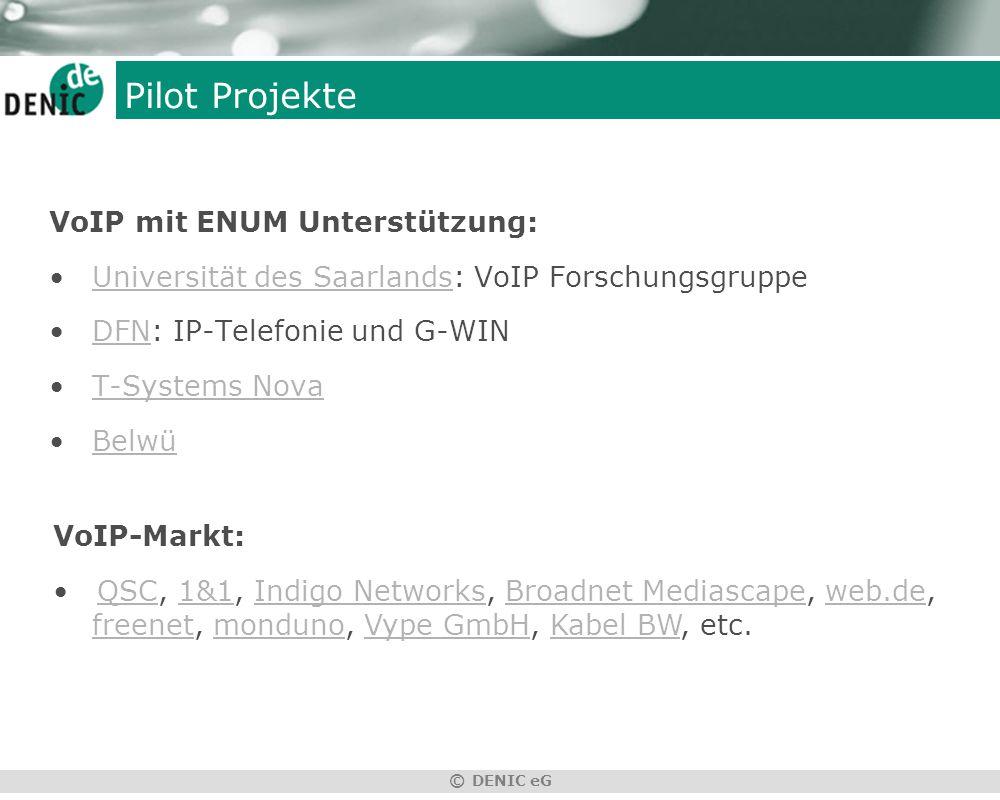 © DENIC eG Pilot Projekte VoIP mit ENUM Unterstützung: Universität des Saarlands: VoIP ForschungsgruppeUniversität des Saarlands DFN: IP-Telefonie und G-WINDFN T-Systems Nova Belwü VoIP-Markt: QSC, 1&1, Indigo Networks, Broadnet Mediascape, web.de, freenet, monduno, Vype GmbH, Kabel BW, etc.QSC1&1Indigo NetworksBroadnet Mediascapeweb.defreenetmondunoVype GmbHKabel BW