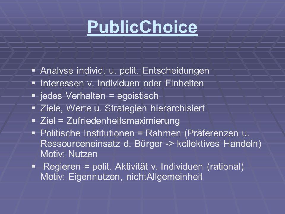 PublicChoice   Analyse individ. u. polit. Entscheidungen   Interessen v. Individuen oder Einheiten   jedes Verhalten = egoistisch   Ziele, Wer