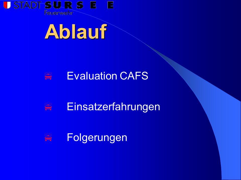 Ablauf  Evaluation CAFS  Einsatzerfahrungen  Folgerungen
