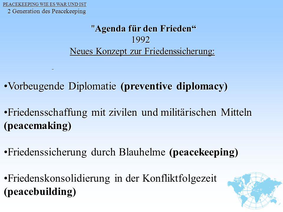 PEACEKEEPING WIE ES WAR UND IST 2 Generation des Peacekeeping 2 Generation des Peacekeeping