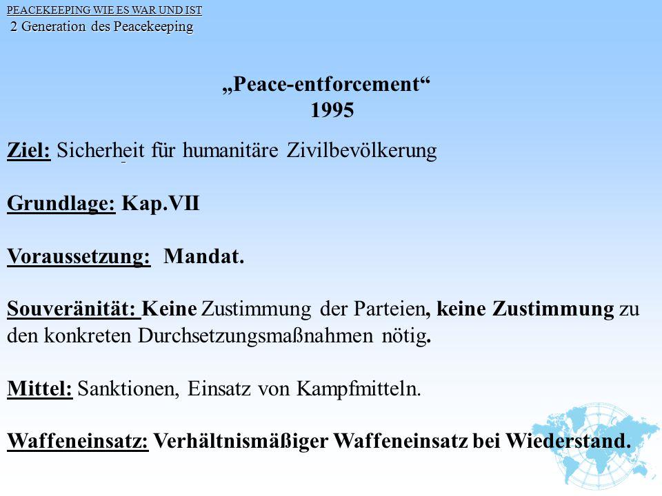 """PEACEKEEPING WIE ES WAR UND IST 2 Generation des Peacekeeping 2 Generation des Peacekeeping """"Peace-entforcement"""" 1995 Ziel: Sicherheit für humanitäre"""