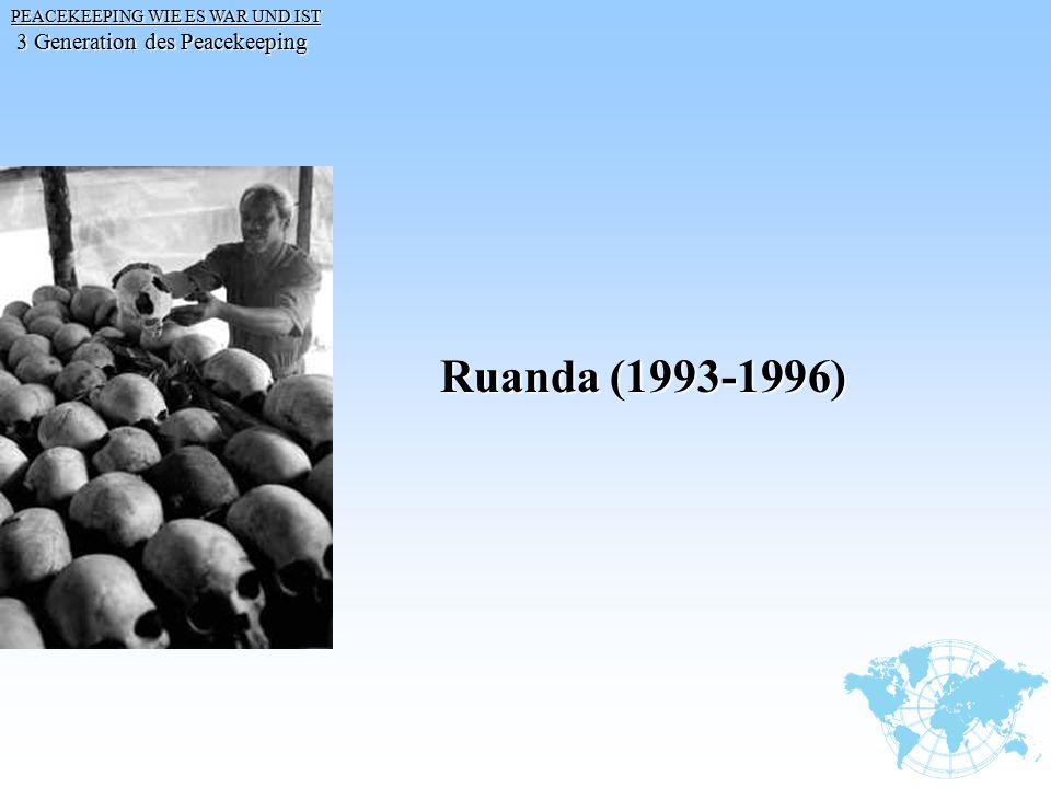 PEACEKEEPING WIE ES WAR UND IST PEACEKEEPING WIE ES WAR UND IST 3 Generation des Peacekeeping 3 Generation des Peacekeeping Ruanda (1993-1996)