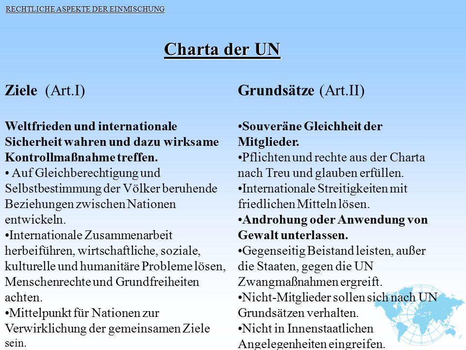 Ziele (Art.I) Weltfrieden und internationale Sicherheit wahren und dazu wirksame Kontrollmaßnahme treffen. Auf Gleichberechtigung und Selbstbestimmung