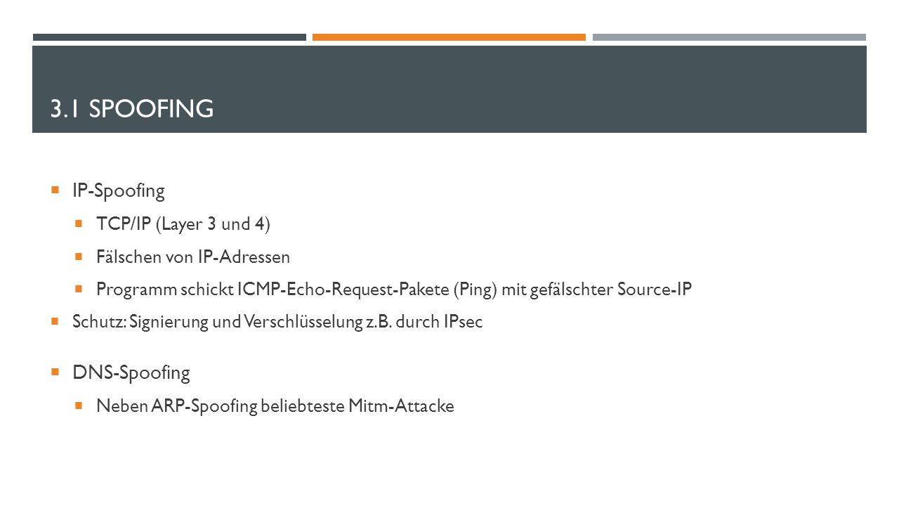 3.1 SPOOFING  IP-Spoofing  TCP/IP (Layer 3 und 4)  Fälschen von IP-Adressen  Programm schickt ICMP-Echo-Request-Pakete (Ping) mit gefälschter Sour
