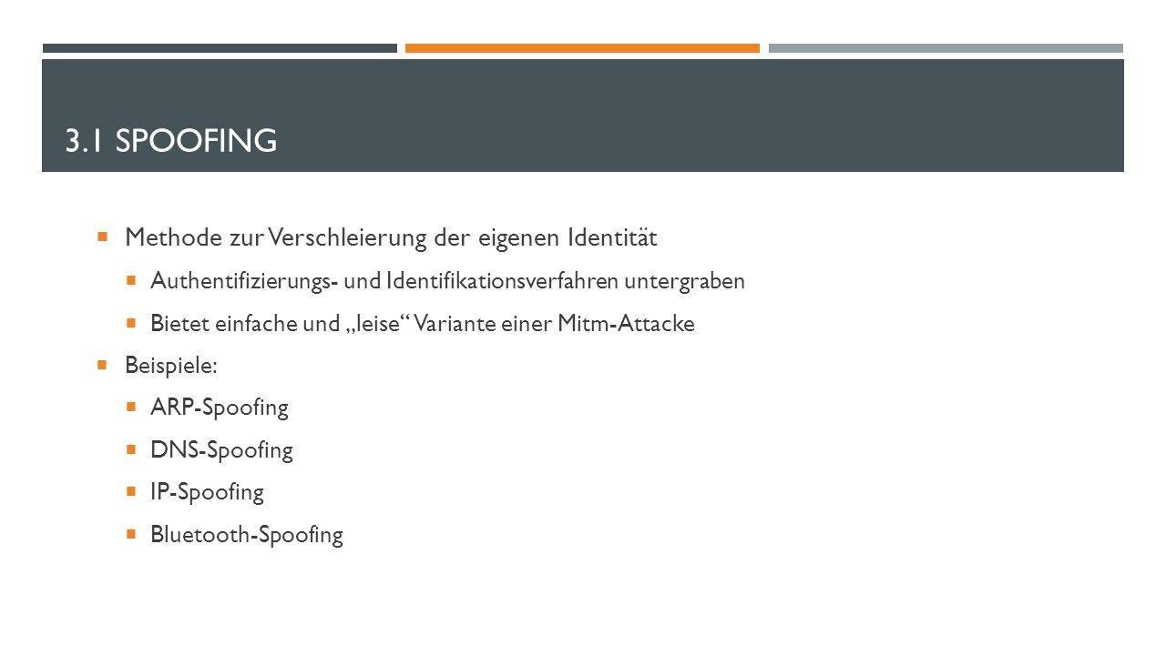 """3.1 SPOOFING  Methode zur Verschleierung der eigenen Identität  Authentifizierungs- und Identifikationsverfahren untergraben  Bietet einfache und """""""