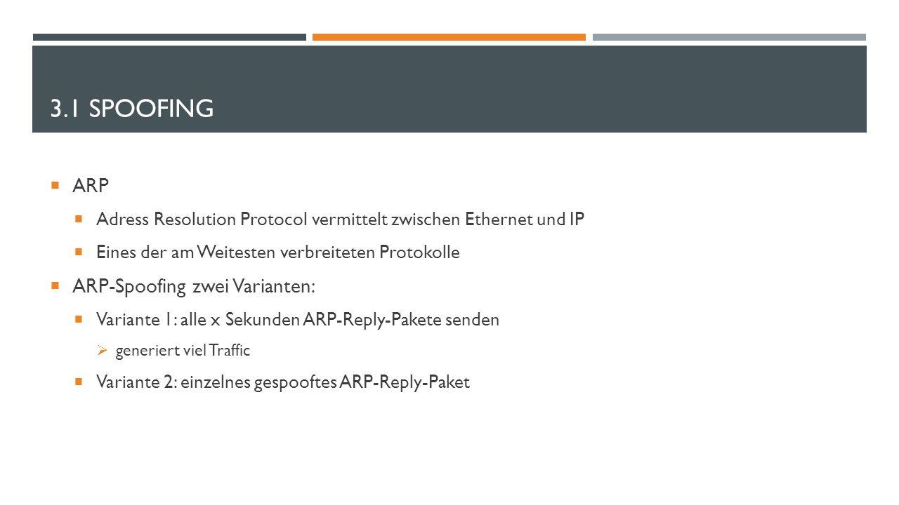 3.1 SPOOFING  ARP  Adress Resolution Protocol vermittelt zwischen Ethernet und IP  Eines der am Weitesten verbreiteten Protokolle  ARP-Spoofing zw