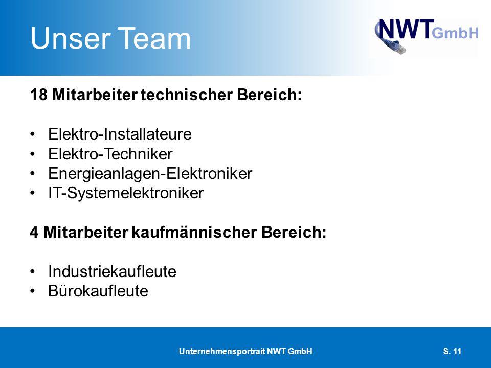 Unser Team 18 Mitarbeiter technischer Bereich: Elektro-Installateure Elektro-Techniker Energieanlagen-Elektroniker IT-Systemelektroniker 4 Mitarbeiter