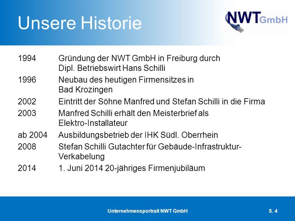 Unsere Historie 1994Gründung der NWT GmbH in Freiburg durch Dipl. Betriebswirt Hans Schilli 1996Neubau des heutigen Firmensitzes in Bad Krozingen 2002