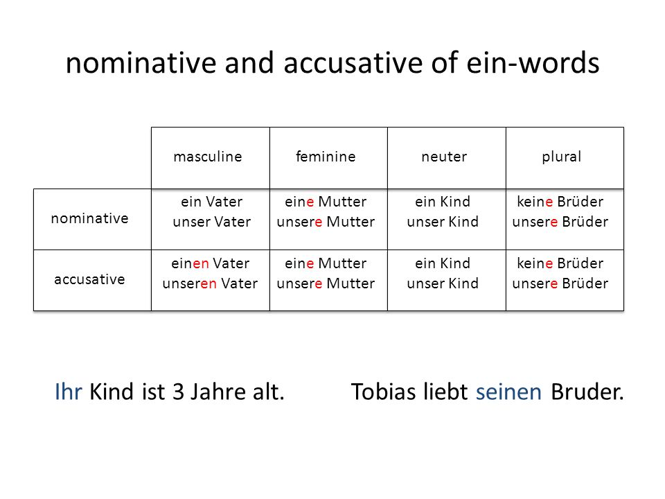 nominative and accusative of ein-words nominative accusative ein Vater unser Vater eine Mutter unsere Mutter ein Kind unser Kind keine Brüder unsere B