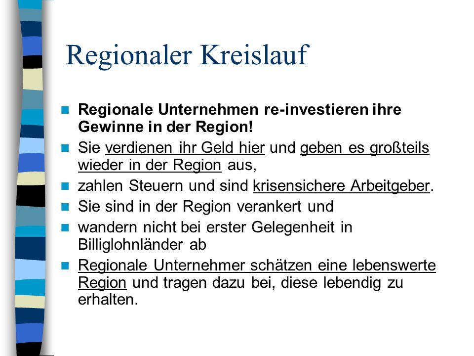 Regionaler Kreislauf Regionale Unternehmen re-investieren ihre Gewinne in der Region! Sie verdienen ihr Geld hier und geben es großteils wieder in der