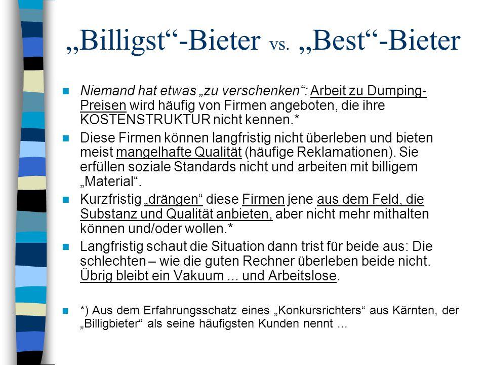 """""""Billigst""""-Bieter vs. """"Best""""-Bieter Niemand hat etwas """"zu verschenken"""": Arbeit zu Dumping- Preisen wird häufig von Firmen angeboten, die ihre KOSTENST"""