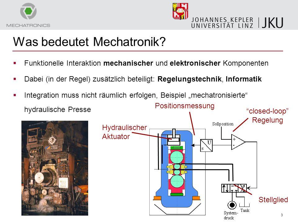 3 Was bedeutet Mechatronik?  Funktionelle Interaktion mechanischer und elektronischer Komponenten  Dabei (in der Regel) zusätzlich beteiligt: Regelu