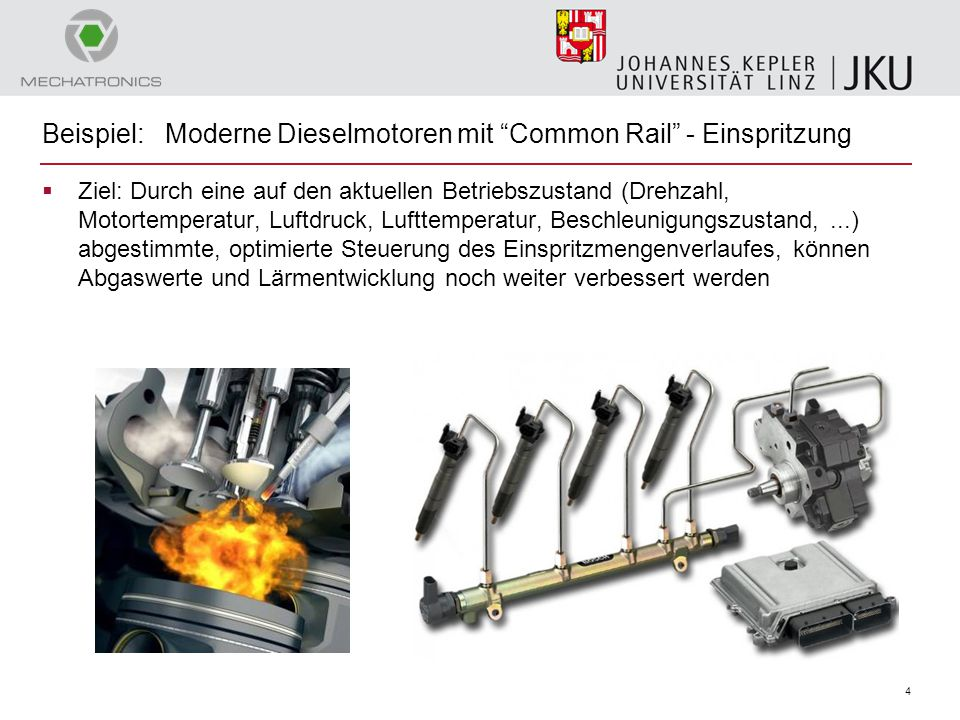 """4 Beispiel: Moderne Dieselmotoren mit """"Common Rail"""" - Einspritzung  Ziel: Durch eine auf den aktuellen Betriebszustand (Drehzahl, Motortemperatur, Lu"""