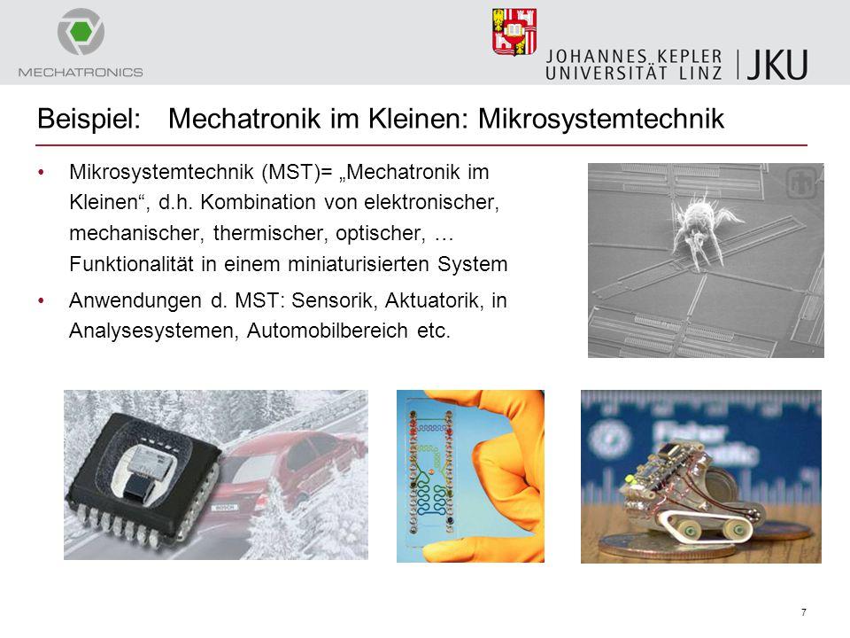 """7 Beispiel: Mechatronik im Kleinen: Mikrosystemtechnik Mikrosystemtechnik (MST)= """"Mechatronik im Kleinen"""", d.h. Kombination von elektronischer, mechan"""