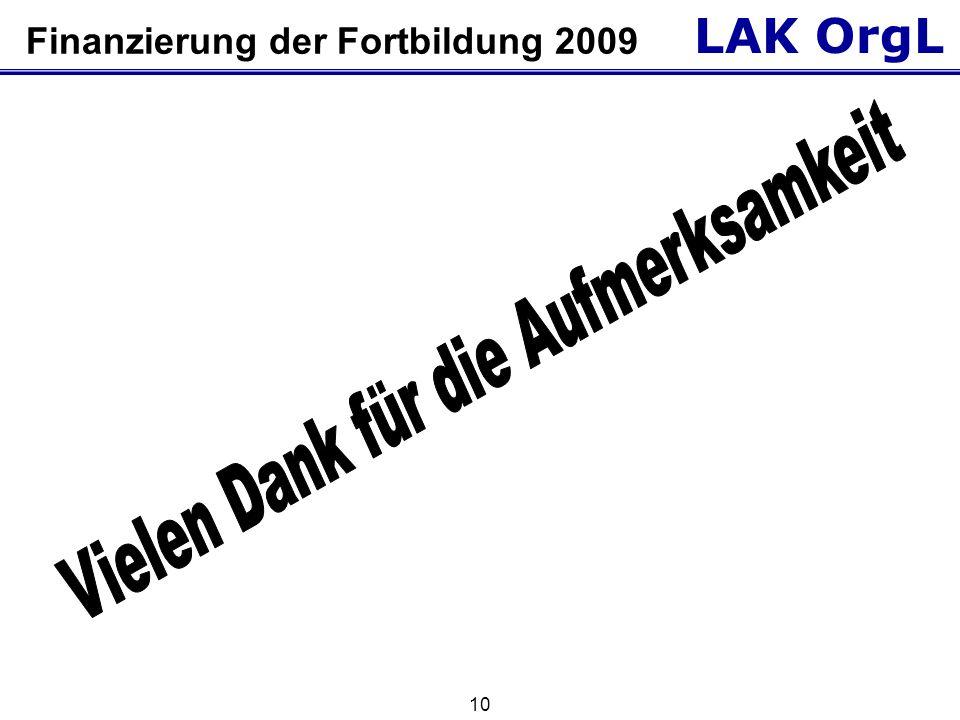 LAK OrgL 10 Finanzierung der Fortbildung 2009