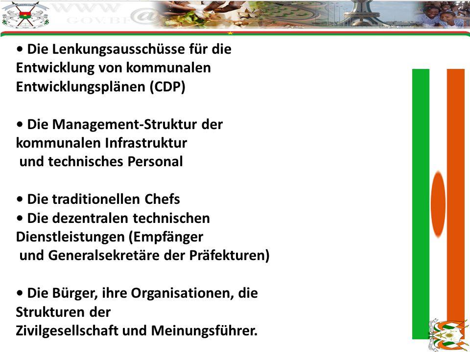 Die Lenkungsausschüsse für die Entwicklung von kommunalen Entwicklungsplänen (CDP) Die Management-Struktur der kommunalen Infrastruktur und technische