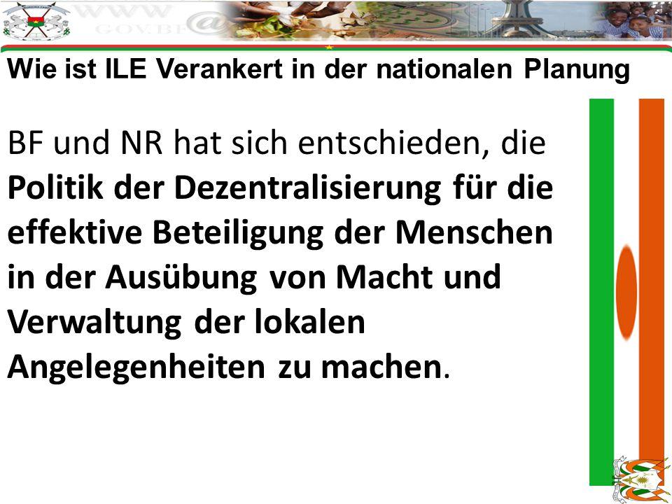 Wie ist ILE Verankert in der nationalen Planung BF und NR hat sich entschieden, die Politik der Dezentralisierung für die effektive Beteiligung der Menschen in der Ausübung von Macht und Verwaltung der lokalen Angelegenheiten zu machen.