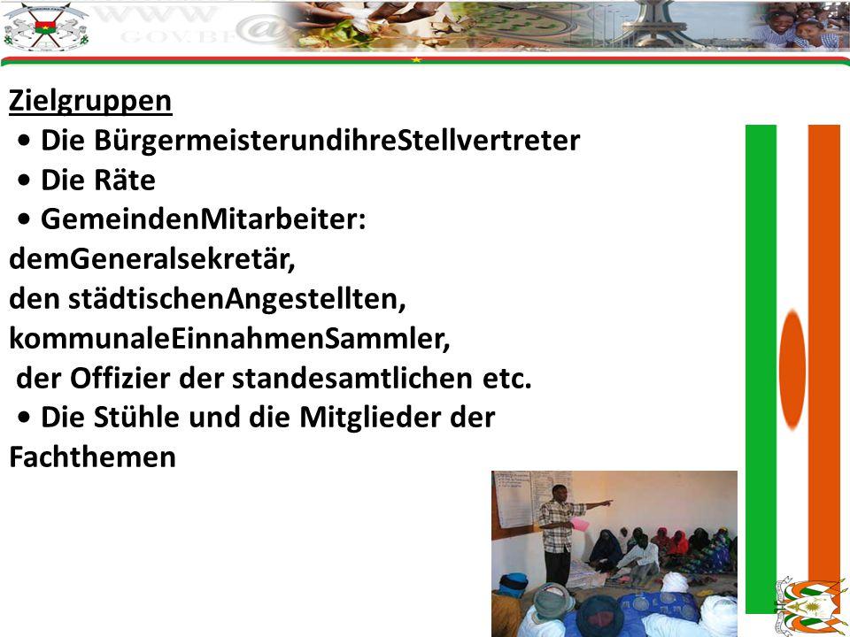 Zielgruppen Die BürgermeisterundihreStellvertreter Die Räte GemeindenMitarbeiter: demGeneralsekretär, den städtischenAngestellten, kommunaleEinnahmenS