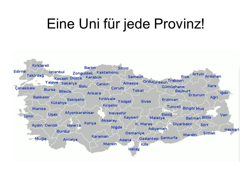 Eine Uni für jede Provinz!