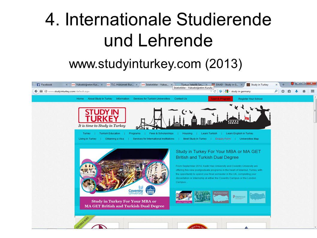 4. Internationale Studierende und Lehrende www.studyinturkey.com (2013)