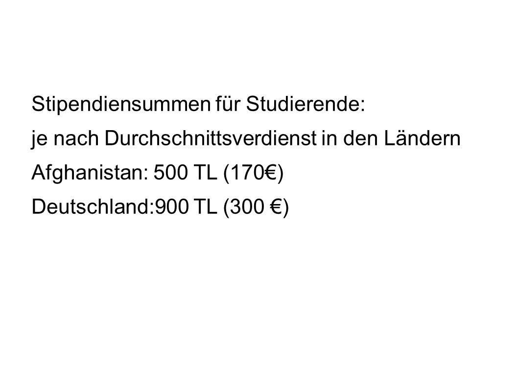 Stipendiensummen für Studierende: je nach Durchschnittsverdienst in den Ländern Afghanistan: 500 TL (170€) Deutschland:900 TL (300 €)