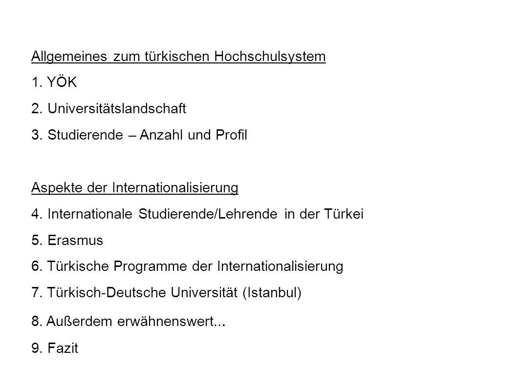Allgemeines zum türkischen Hochschulsystem 1. YÖK 2. Universitätslandschaft 3. Studierende – Anzahl und Profil Aspekte der Internationalisierung 4. In
