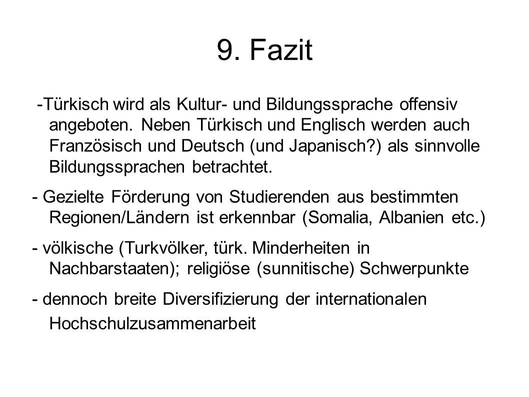 9. Fazit -Türkisch wird als Kultur- und Bildungssprache offensiv angeboten. Neben Türkisch und Englisch werden auch Französisch und Deutsch (und Japan
