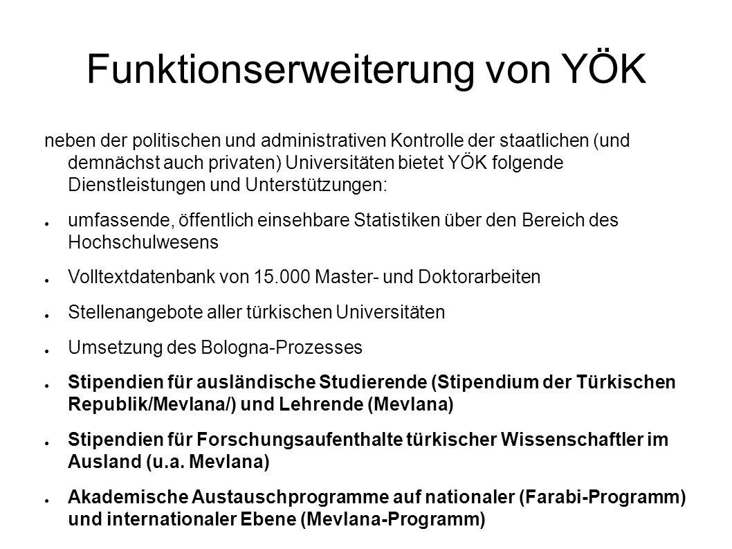Funktionserweiterung von YÖK neben der politischen und administrativen Kontrolle der staatlichen (und demnächst auch privaten) Universitäten bietet YÖ