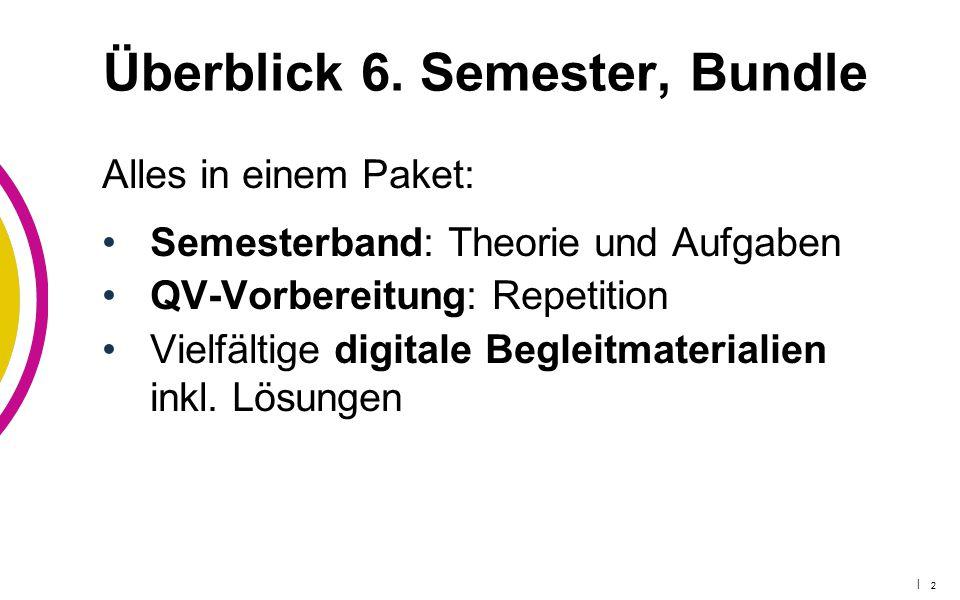 | 2 Überblick 6. Semester, Bundle Alles in einem Paket: Semesterband: Theorie und Aufgaben QV-Vorbereitung: Repetition Vielfältige digitale Begleitmat