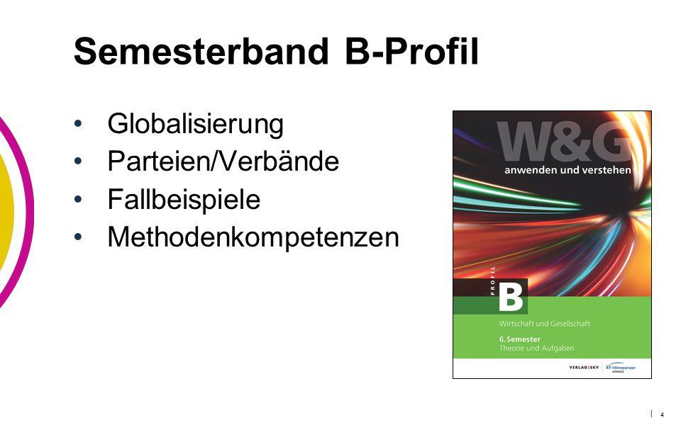 | 4 Semesterband B-Profil Globalisierung Parteien/Verbände Fallbeispiele Methodenkompetenzen