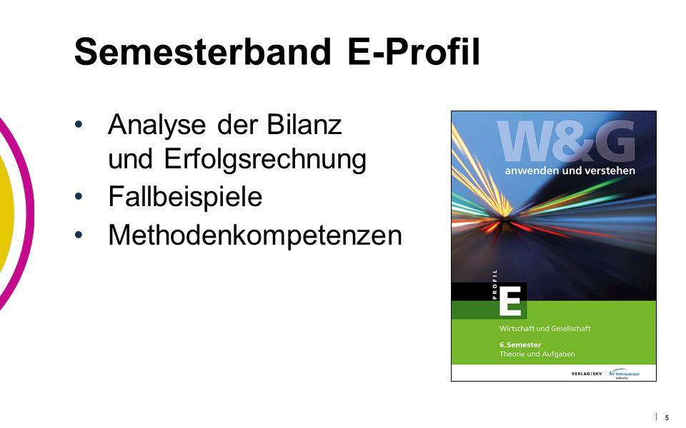 | 5 Semesterband E-Profil Analyse der Bilanz und Erfolgsrechnung Fallbeispiele Methodenkompetenzen