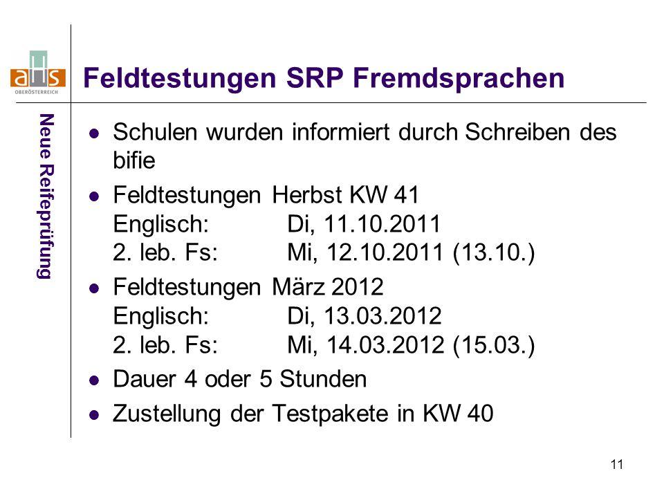 11 Feldtestungen SRP Fremdsprachen Schulen wurden informiert durch Schreiben des bifie Feldtestungen Herbst KW 41 Englisch:Di, 11.10.2011 2.