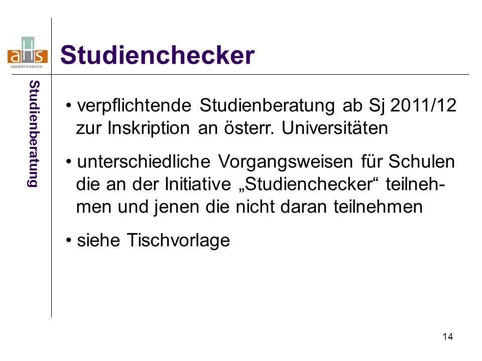 14 Studienchecker Studienberatung verpflichtende Studienberatung ab Sj 2011/12 zur Inskription an österr.