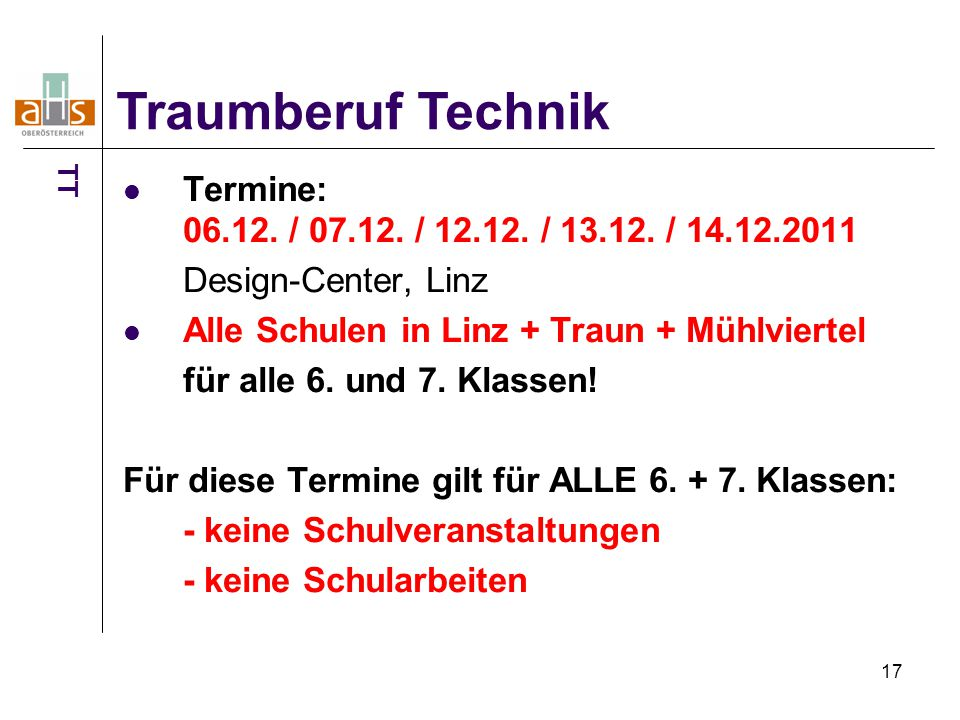 17 Termine: 06.12. / 07.12. / 12.12. / 13.12.