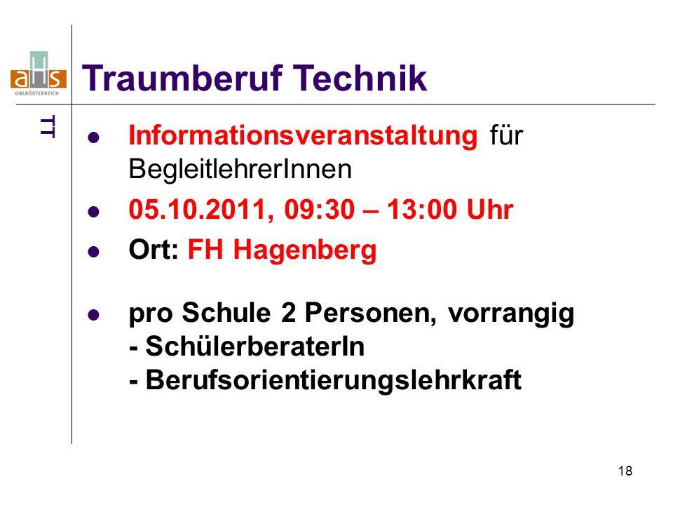 18 Informationsveranstaltung für BegleitlehrerInnen 05.10.2011, 09:30 – 13:00 Uhr Ort: FH Hagenberg pro Schule 2 Personen, vorrangig - SchülerberaterIn - Berufsorientierungslehrkraft Traumberuf Technik TT