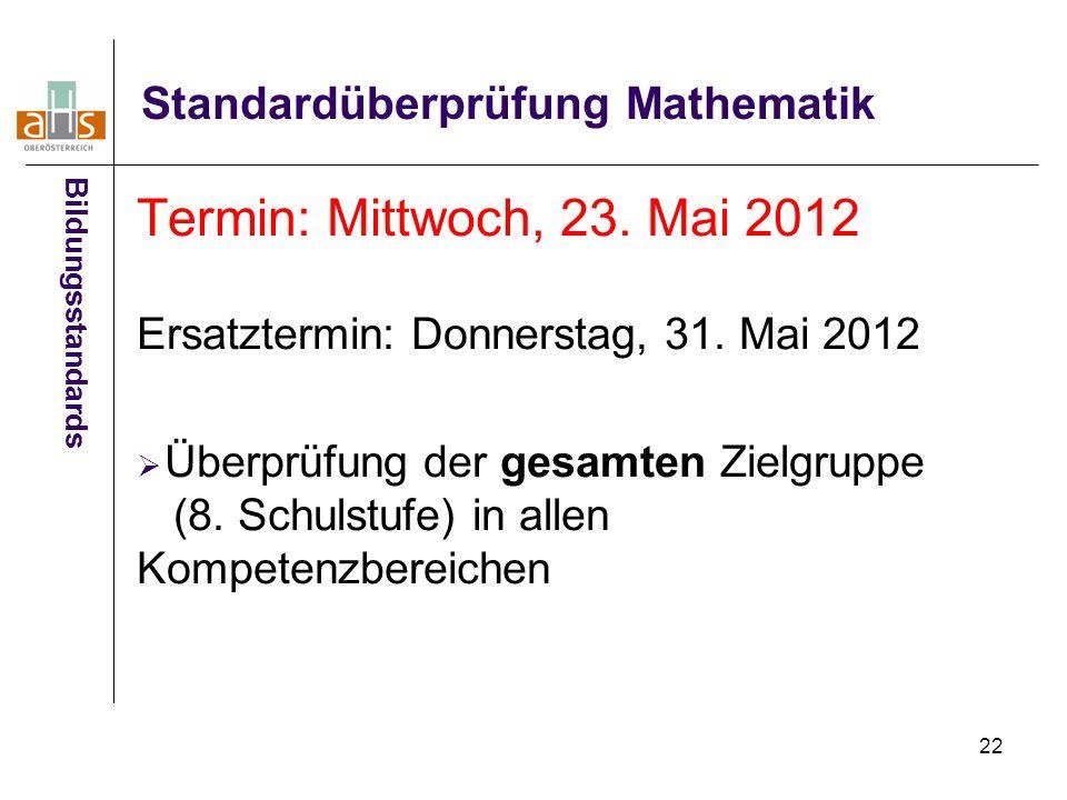 22 Standardüberprüfung Mathematik Termin: Mittwoch, 23.