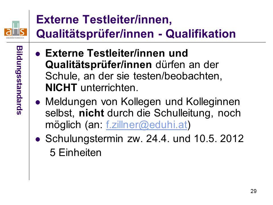 29 Externe Testleiter/innen, Qualitätsprüfer/innen - Qualifikation Externe Testleiter/innen und Qualitätsprüfer/innen dürfen an der Schule, an der sie testen/beobachten, NICHT unterrichten.