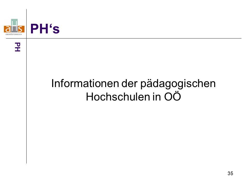 35 PH's PH Informationen der pädagogischen Hochschulen in OÖ