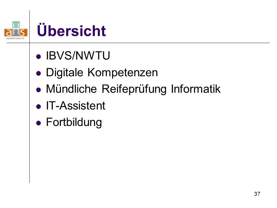37 Übersicht IBVS/NWTU Digitale Kompetenzen Mündliche Reifeprüfung Informatik IT-Assistent Fortbildung