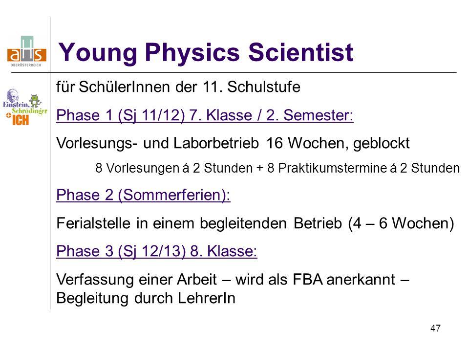 47 Young Physics Scientist für SchülerInnen der 11.