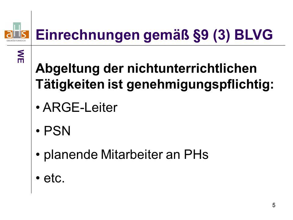 5 Einrechnungen gemäß §9 (3) BLVG WE Abgeltung der nichtunterrichtlichen Tätigkeiten ist genehmigungspflichtig: ARGE-Leiter PSN planende Mitarbeiter an PHs etc.