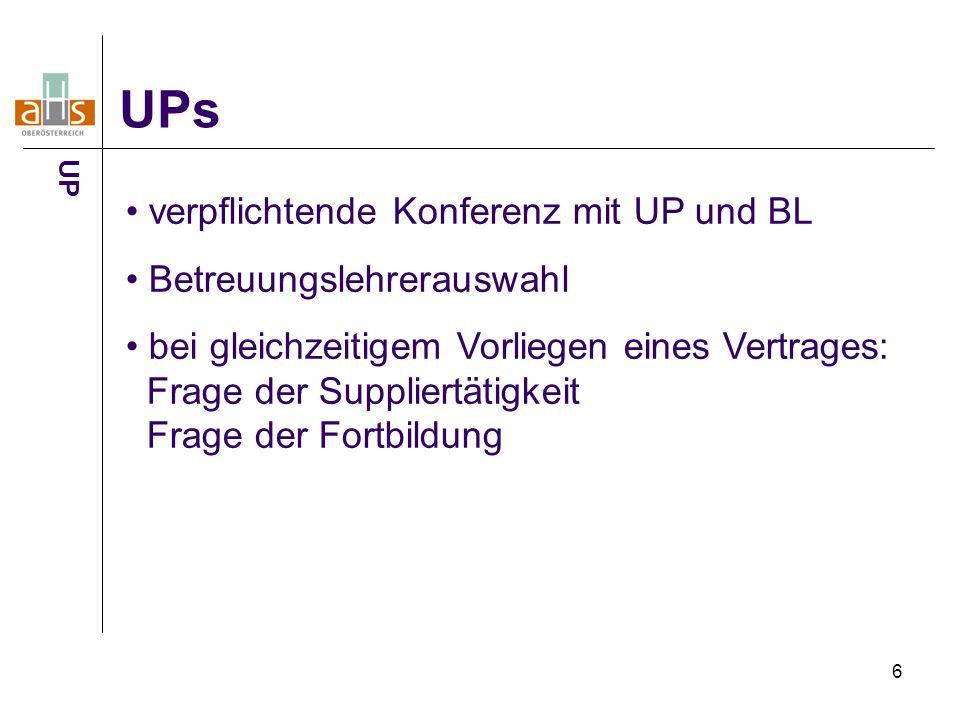 6 UPs verpflichtende Konferenz mit UP und BL Betreuungslehrerauswahl bei gleichzeitigem Vorliegen eines Vertrages: Frage der Suppliertätigkeit Frage der Fortbildung UP