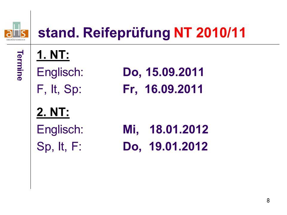 8 stand. Reifeprüfung NT 2010/11 1. NT: Englisch: Do, 15.09.2011 F, It, Sp:Fr, 16.09.2011 2.