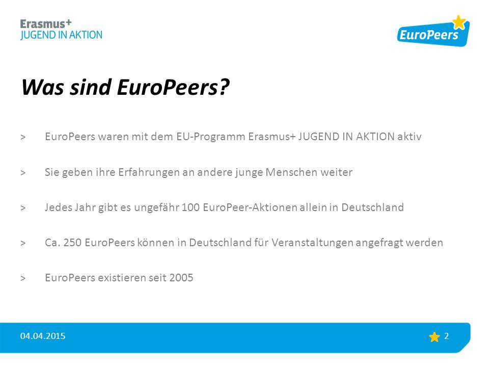 Was sind EuroPeers? > EuroPeers waren mit dem EU-Programm Erasmus+ JUGEND IN AKTION aktiv > Sie geben ihre Erfahrungen an andere junge Menschen weiter