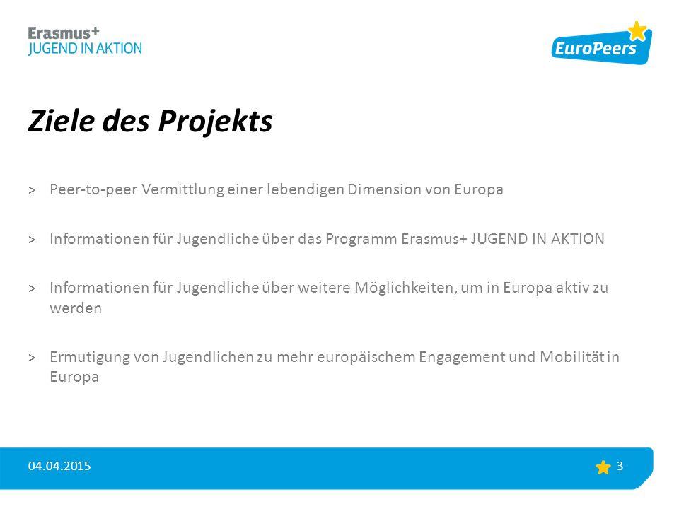 Ziele des Projekts > Peer-to-peer Vermittlung einer lebendigen Dimension von Europa > Informationen für Jugendliche über das Programm Erasmus+ JUGEND