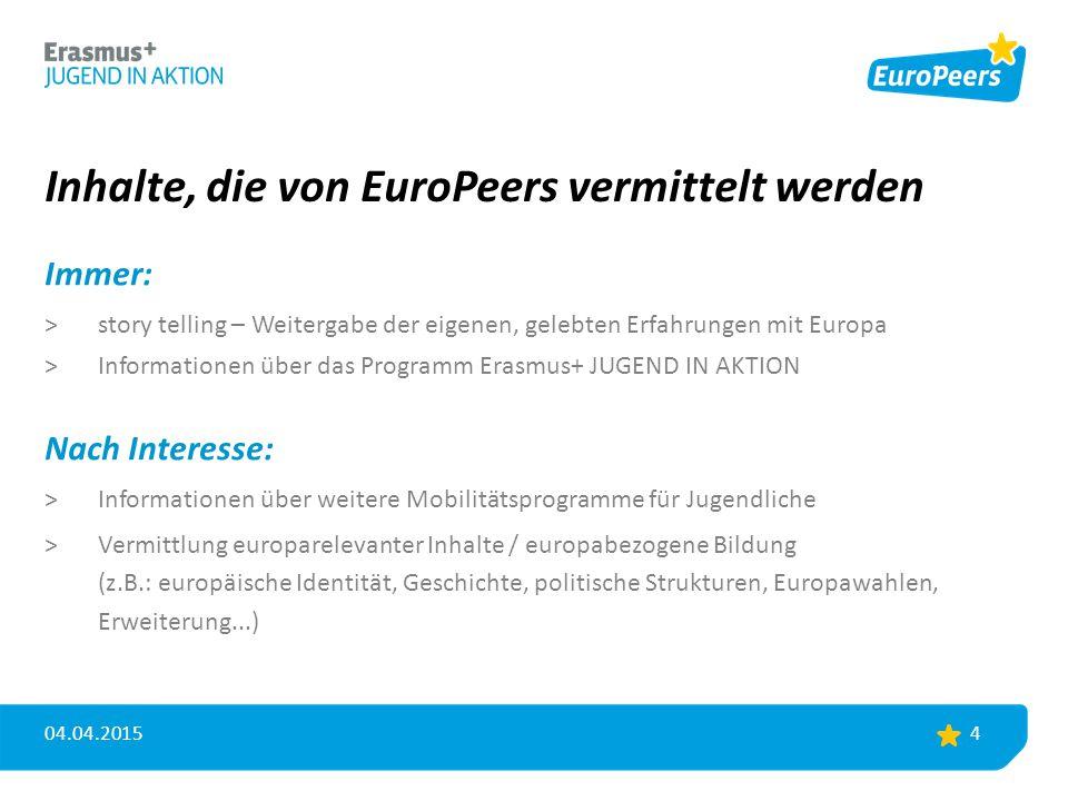 Inhalte, die von EuroPeers vermittelt werden Immer: >story telling – Weitergabe der eigenen, gelebten Erfahrungen mit Europa >Informationen über das P