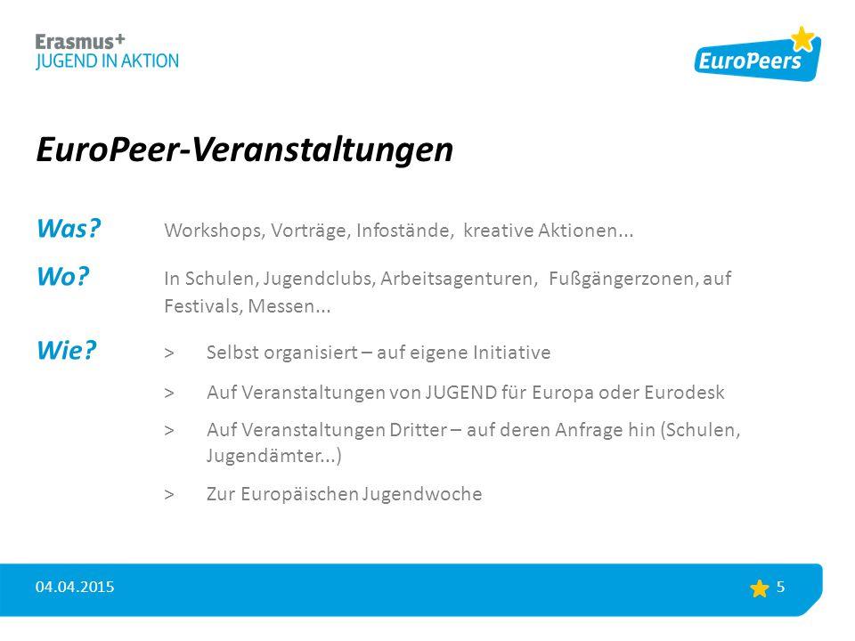 EuroPeer-Veranstaltungen Was? Workshops, Vorträge, Infostände, kreative Aktionen... Wo? In Schulen, Jugendclubs, Arbeitsagenturen,Fußgängerzonen, auf